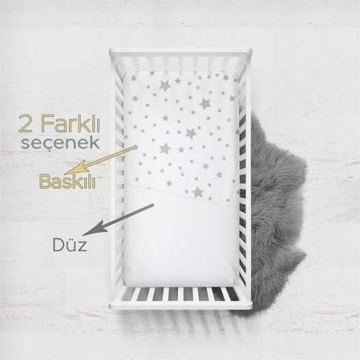 Ephemeris Pamuk Penye 70x140cm 2'li Fitted Bebek Çarşaf - Grey St